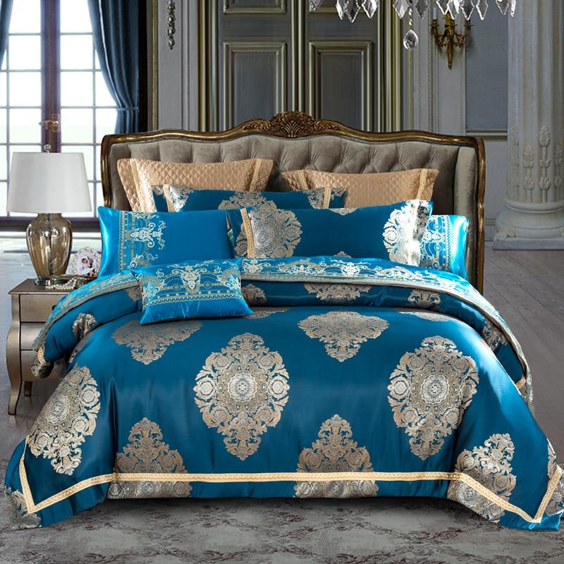 Blue Brown Color Luxury Royal Bedding Set Queen King Size Bed Set Cotton Bed/Flat Sheet Set Satin Jacquard Duvet Cover Bedlinen