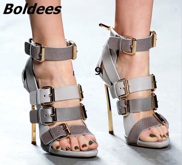 Trendy Designer Soft PU Leather Metal Heeled Sandals Woman Snakeskin Matched Buckles Decoration Stiletto Heels Dress Shoes - 2
