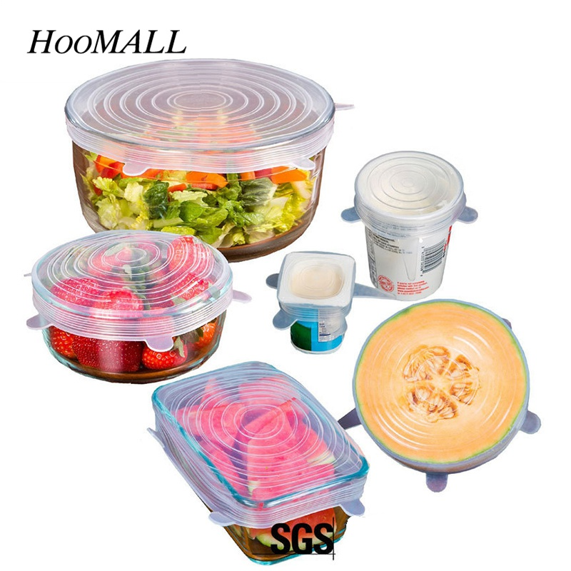 hoomall 6PCsSet Bowl Pot Lids Silicone Cover Pan Kitchen