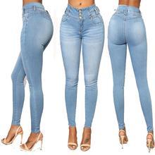 Long Jeans Women High Waist Skinny Pencil Blue Denim Pants bleached washed Stretch button sexy Jeans women plus big size S-3XL mango women s skinny olivia jeans