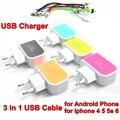 BrankBass 5 В 1.5A ЕС USB Зарядное Устройство 3 USB Слот Зарядки Гнездо + 3 в 1 Синхронизации Данных Зарядный Кабель Для Iphone 4 5 6 & Micro USB кабель