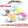 BrankBass 5V 1.5A EU USB Charger 3 USB Slot Charging Socket+3 in 1 Data Sync Charging Cable For Iphone 4 5 6 &Micro USB cable
