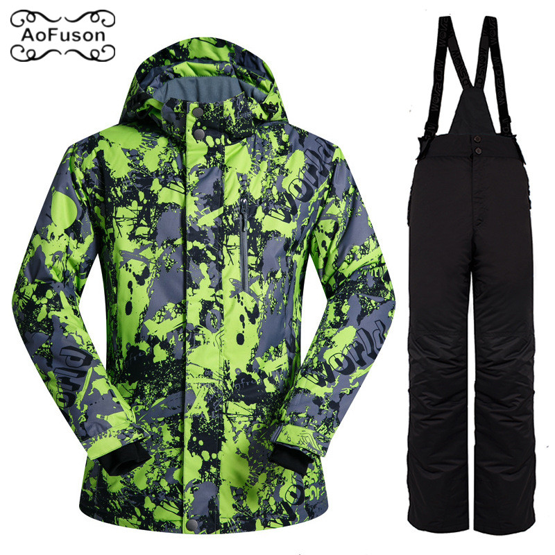 Ski Suit Set Outdoor Men's Windproof Waterproof Thermal Snowboard Snow Male Ski Jacket And Ski Pants sets Skiwear Winter Jackets winter ski suit men waterproof windproof thicken breathable ski jacket and trousers sets for male print snowboard coats jackets