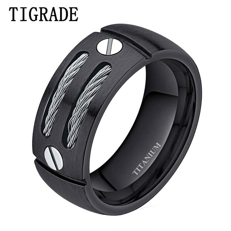 TIGRADE 8mm Hitam / Perak Pria Punk Titanium Cincin Stainless Steel Kabel Engagement Rings Pernikahan Band Laki-laki Perhiasan Manik-manik Unicorn