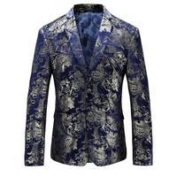 Fashion Brand Men Velvet Blazer Jacket Designs Slim Fit Plus Size M 5XL Casual Gold Floral
