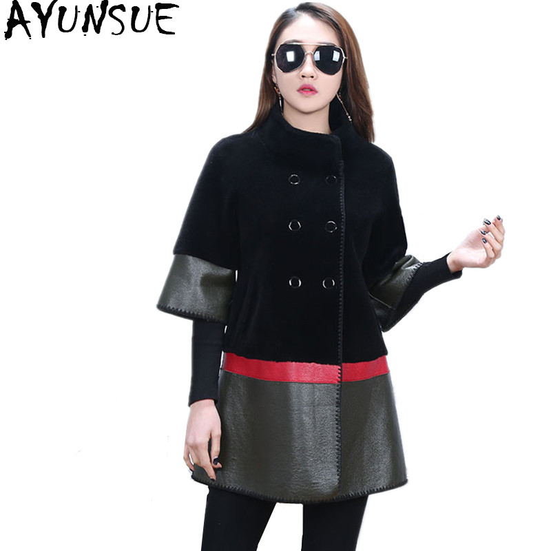 AYUNSUE Real Fur Coat Female Natural Wool Fur Coats PU Leather Jacket Patchwork Jackets For Women Double-sided Overcoat WYQ909