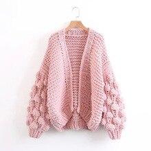 pure manual ball lantern sleeve sweater Long Lantern Sleeve Knitting Cardigan Women Knitted Casual Warm Shawl Sweater