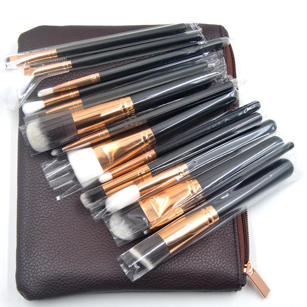 15 pieces Makeup brushes Black Synthetic Hair Powder Foundation blusher eyeshadow lip Make Up Brush kits Cosmetic beauty tool docolor 10pcs makeup brushes set synthetic hair foundation eyeshadow cosmetic brush professional lip powder make up brush
