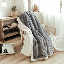 New Double Thick Wheat Jacquard Soft Warm Blanket Travel Sofa Solid Fleece Coral Blankets For Bed Soft Fluffy Cobertor 150X200CM modern minimalist soft coral fleece blanket plaid stripe blankets thick blanket throw for sofa bed travel deken flannel cobertor