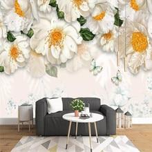 3D wallpaper modern minimalist fresh floral sofa background wall custom mural photo