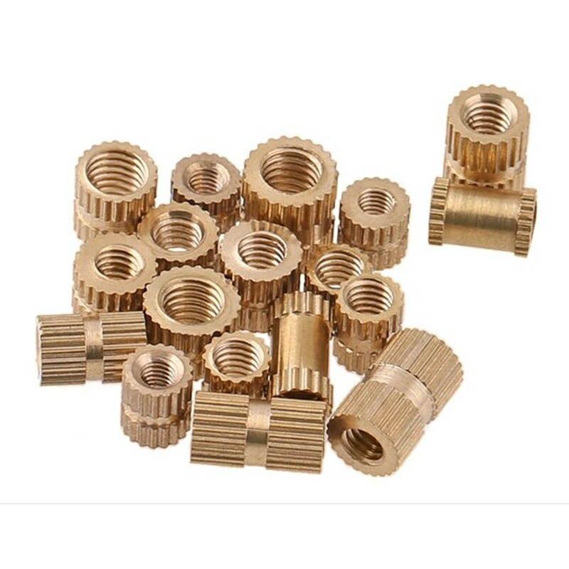 200PCS/Pack M4 X 4mm Heat Resistance Female Thread Brass Knurled Threaded Insert Embedment Nuts Brass