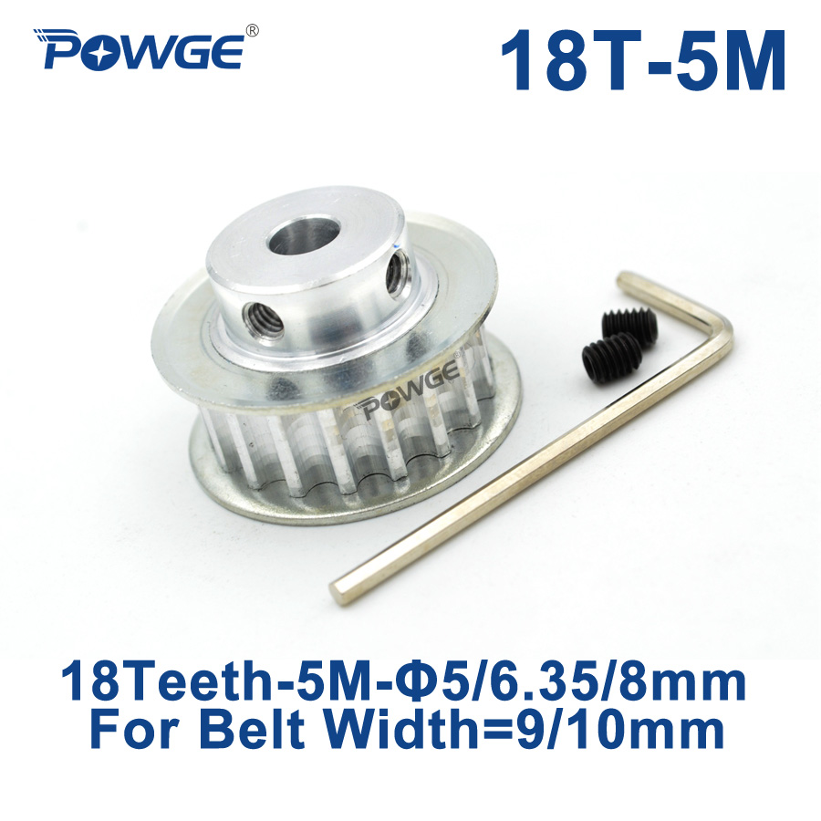 POWGE 18 Teeth HTD 5M Timing Pulley Bore 5/6.35/8mm for Width 9/10mm HTD5M Synchronous Belt pulley 18-5M-10 BF 18Teeth 18T CNC powge 1pcs steel 18 teeth htd 3m timing pulley bore 8mm for width12mm 3m timing belt rubber htd3m pulley belt tooth 18t 18teeth