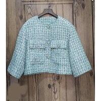 Новинка 2019 года демисезонный для женщин Ретро свободные твидовый пиджак шелк воды синий топы корректирующие короткое пальт