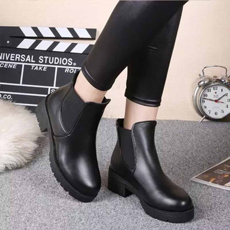цена Round Toe Chelsea Boots Fashion Women Boots Autumn Winter Ankle Boots Square Heel Women Shoes Black PU Leather Martin boots