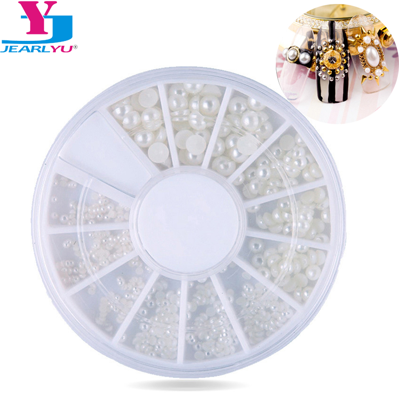 1 White Pearl Nail Art Stone Various Size Wheel Rhinestones Beads Nail Decoration Pearl DIY Nail Art Manicure Decoration Toos