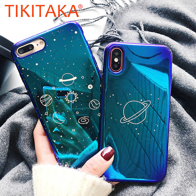 Fashion Cute Blu-ray Phone Case For iphone 7 Case Soft Silicone Back Cover For iphone 6 6S 7 8 Plus X Space planet Stars Cases image