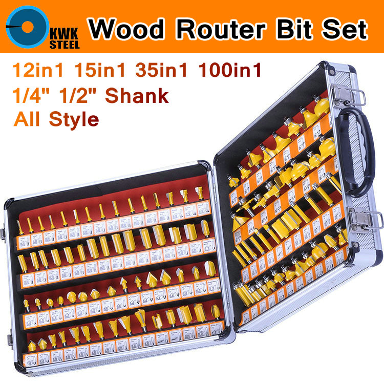 Router Bit Set Wood Cutter Woodworking Forming Carving Engraving Milling Cutter Kit Bits 1/4 6.35mm 1/2 12.7mm Round Shank Box best price 1 2 inch hss milling bits shank round nose cove core box router bit shaker cutter tools for woodworking
