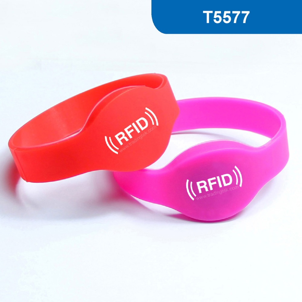 WB01 Silicone RFID Bracelet RFID wristband for Hotel Lock 125KHZ 330 BITS R/W ATMEL ISO18000-2 with T5577 for Acess Control hotel lock system rfid t5577 hotel lock gold silver zinc alloy forging material sn ca 8037