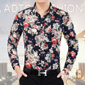 New Arrivals 2017 Men's Spring Casual Long Sleeve Printed Shirt Youth Slim Blouse Male Cotton Shirt Men's Clothing Plus Size 7XL
