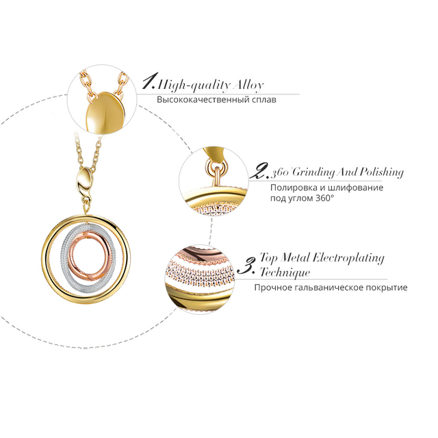Multicolored Round Pendant Necklace Gold Plated with Triple Circles