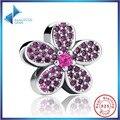 Hot Vender 100% 925 Sterling Silver Roxo Cristais Flor Nobre Feminino Charme Fit Pandora Bracelet & Necklace Da Jóia Para A Mulher
