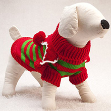 Durable Red with Green Knit Pet Dog Sweater Clothes Coat Apparel,Large