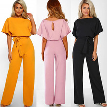 Body Top Polyester Regular Solid Vadim Large Size Pants 2019 New Womens Jumpsuit Round Neck High Waist Women Jumpsuits For
