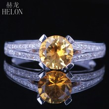 HELON Solid 14K (585) White Gold Flawless 6.5mm Round Real Citrine Natural Diamond Gemstone Engagement Wedding Fine Jewelry Ring(China)
