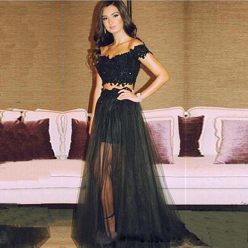 b5559293073 Vestido de festa Off the Shoulder Two Piece Set Prom Gown Short Sleeve  Appliques Black Lace Sexy Wedding Party Dress