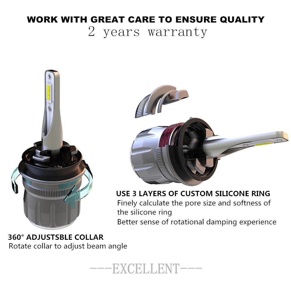 2x Car RGB LED car Headlight H1 H3 H4 H7 H8 H11 9005 9006 H13 9012 5202 LED Bulbs APP Bluetooth Control Multi color 50W 7200LM - 4