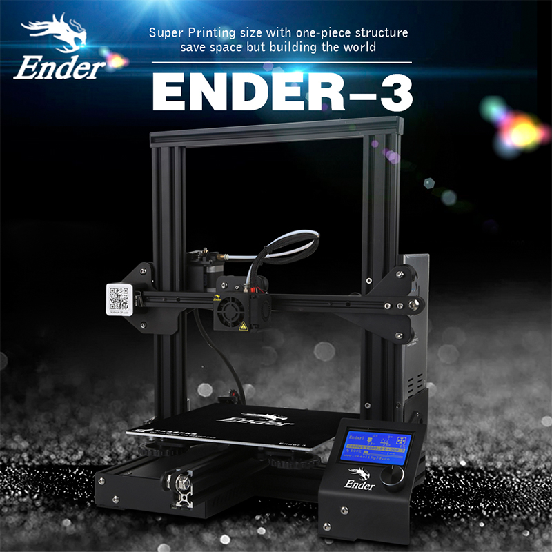 Newest Ender-3 3D printer DIY Kit Large Print Size Prusa i3 printer 3D V-slot Continuation Print power 110C for hotbed Creality