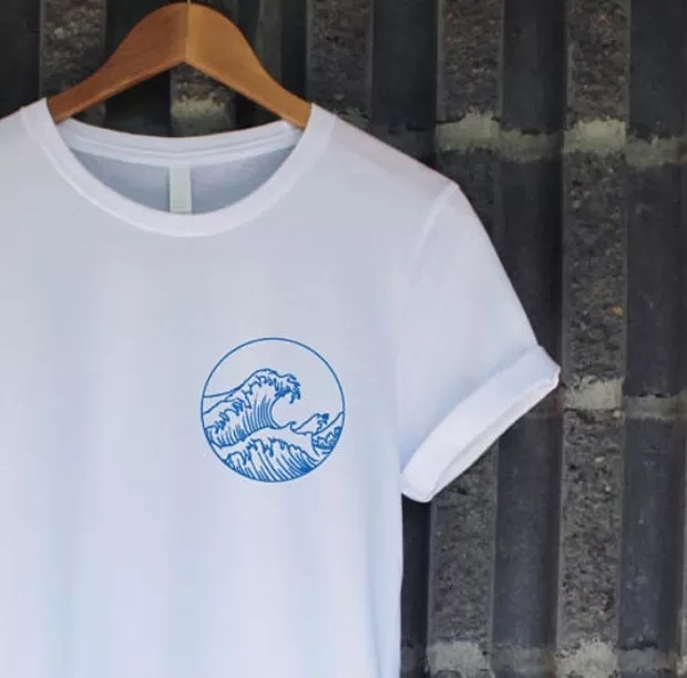 kuakuayu HJN Blue Ocean Wave Print Aesthetic T-Shirt Unisex Men Women Tumblr Fashion Cute Tee Casual Summer Outfit White Tops