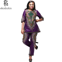 African Print Clothing For Women Dashiki Traditional style 2 Piece Set Print Tracksuit Tops Pants Clothes Female Suit