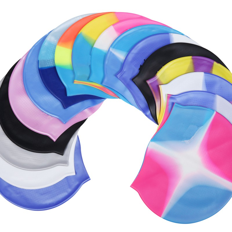 New Elastic Waterproof Protect Ears Sports Swim Multi-color Particles Within The Anti-static Swimming Cap for Men & Women Adult