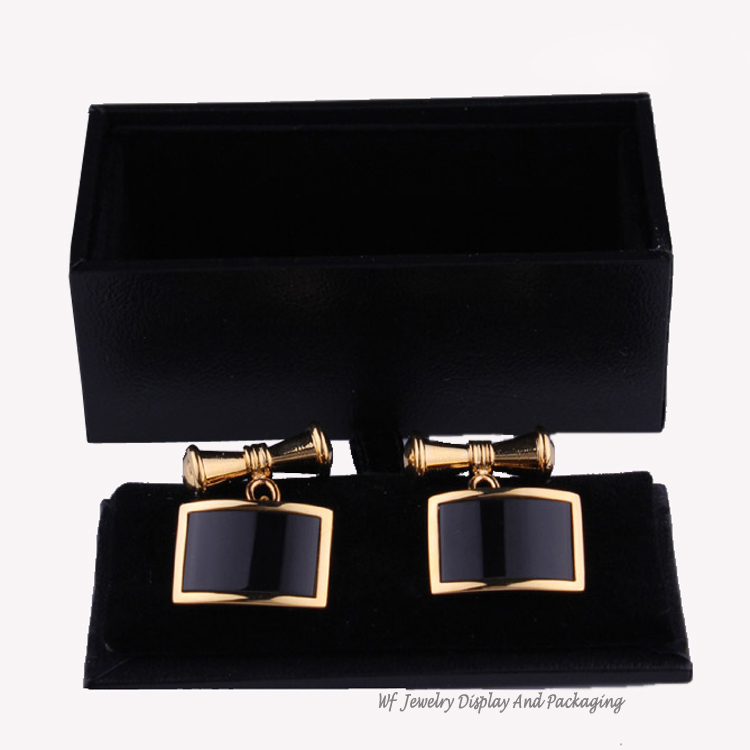 wholesale 120pieces cufflink boxes high end festival gift box jewelry packaging men leatherette storage cases - Cufflink Box