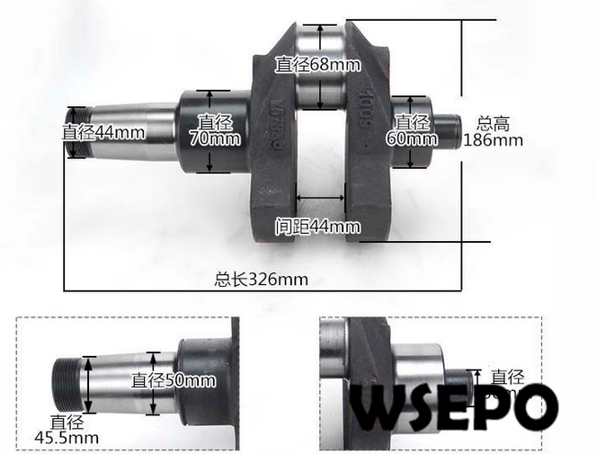 OEM Quality! Crankshaft for ZS1110/ZS1115 20HP~22HP 4 Stroke Small Water Cooled Diesel Engine