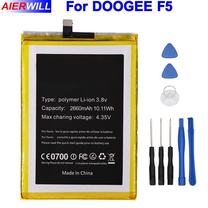 Pour DOOGEE F5 Batterie 2660 mAh Haute Qualité Batterie Bateria Accumulateur AKKU + Outils De Réparation