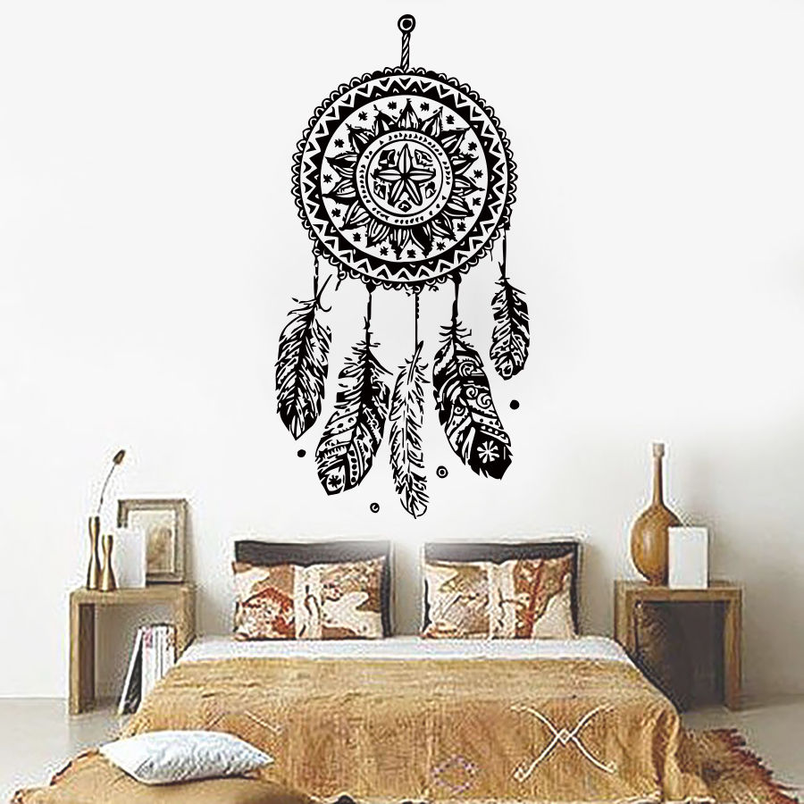 112X56cm Dreamcatcher Sticker Mural Vinyle Home Decor Stickers Plumes Nuit Symbole Indien Autocollants Chambre Salon Art D698