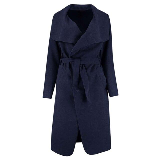 ZAFUL 2017 Winter Coat Women Wide Lapel Belt Pocket Wool Blend Coat Oversize Long Red Trench Coat Outwear Wool Coat Women