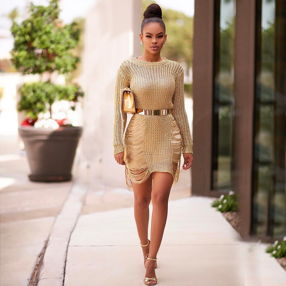 Long Sleeve Sexy Short Pencil Knitted Dress Slim Bodycon Party Vestidos Sweater Dress Gold/Black/Silver Hollow out Dress Beach