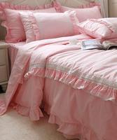 Rose dentelle princesse ensemble de lit fille, Lits complet roi reine 100% coton élégant linge de maison gros beddress taie d'oreiller housse de couette