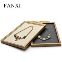 FANXI Cream white&Dark gray Solid wood Necklace&Pendant display Stand with Microfiber for Jewellry Ring Exhibition Jewelry Tray