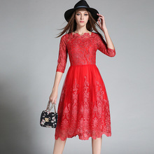 red lace dresses Europe 2017 new high-end embroidery gauze big red lace dresses half sleeve long dresses women beach dress