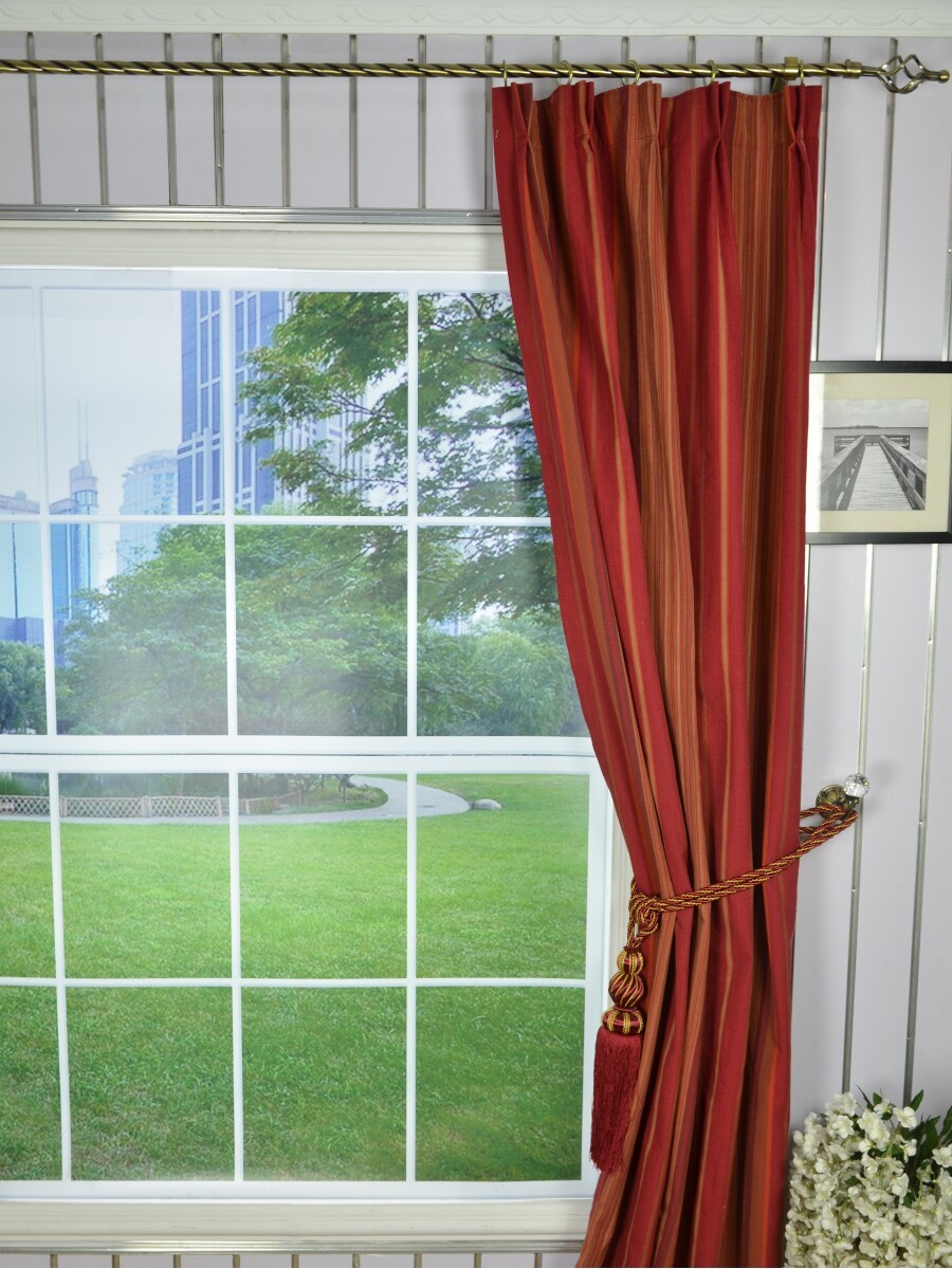 high quality striped ready made double pinch pleat window treatment fo r living room can be customized