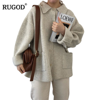 RUGOD 2018 New Autumn Winter Thick Sweater Cardigans Women Fashion Single Breasted Pockets Knitted Cardigan Coat Pull Femme