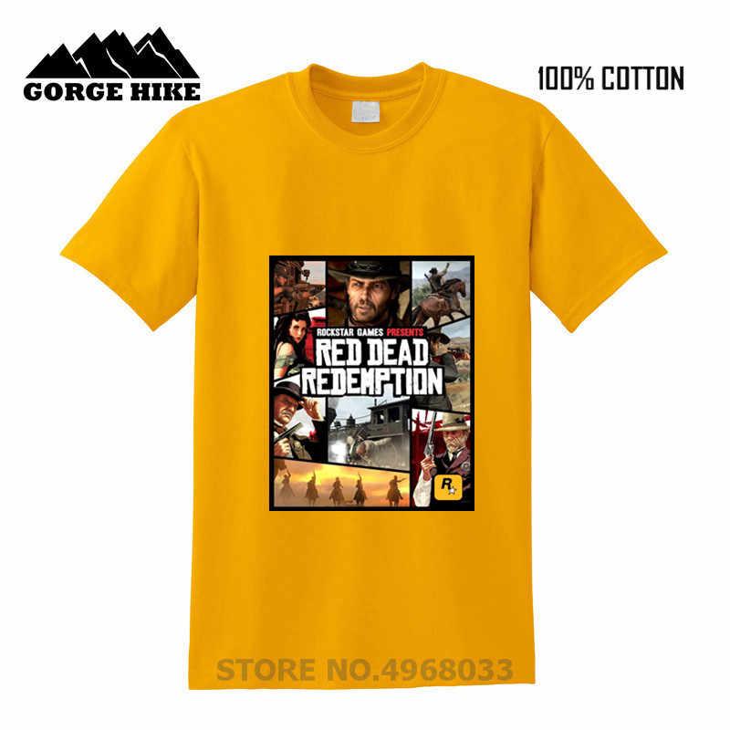 人気のデジタルプリンティング新着 Tシャツ Hombre ロックスターゲームズプレゼント男性純粋な綿 tシャツ赤デッド償還 Tシャツ