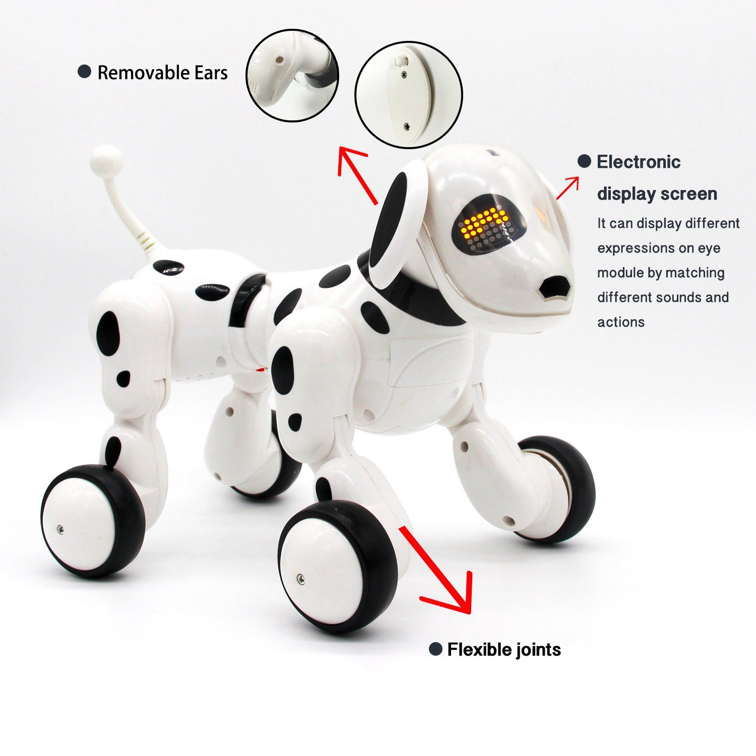 2018 New Wireless Remote Control smart Robot Dog Electric Intelligent RC dog Early Educational toys for children Gift (White) child gift multifunctional high quality dog toy electric intelligent electric dot dog educational toy can be chased