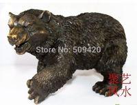 Mały Chiński brązu Posągi rzeźbione czarny niedźwiedź w Posągi i rzeźby od Dom i ogród na