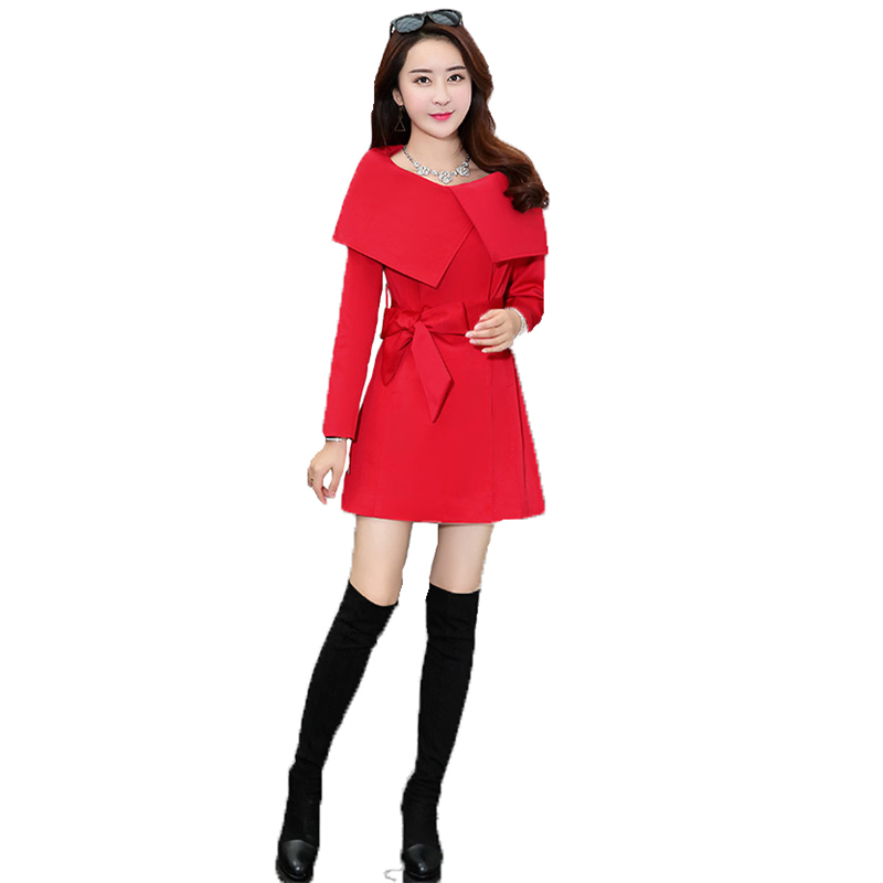 Trench   coat Women 2019 spring and autumn new Korean version 2XL plus size khaki red black long sleeve fashion windbreaker LR286