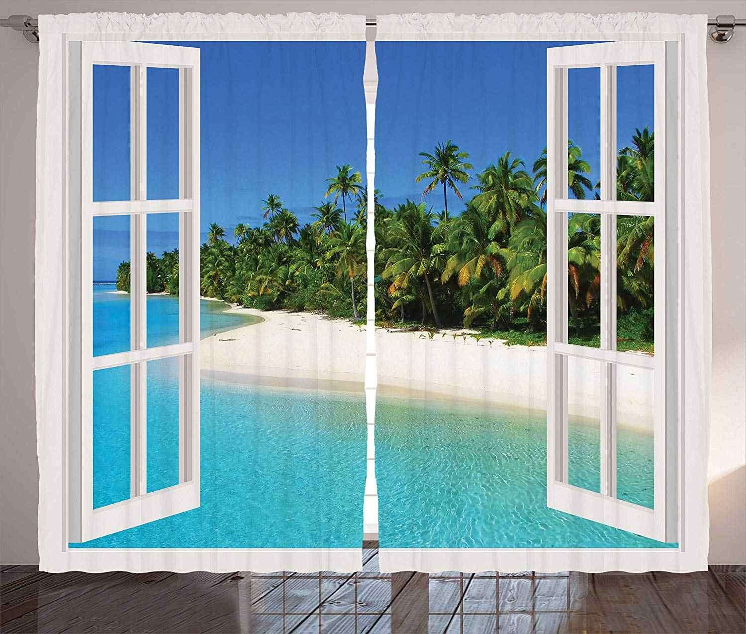 Turquoise Curtains Ocean Paradise Island View from Gazebo Palm Tree Beach Theme Pictures Arts Living Room Bedroom Window Drapes